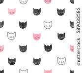 seamless cute cats pattern.... | Shutterstock .eps vector #589033583