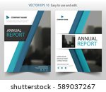 blue triangle vector brochure... | Shutterstock .eps vector #589037267
