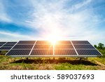 solar panel  photovoltaic ... | Shutterstock . vector #589037693