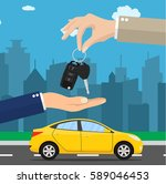car seller hand giving key to... | Shutterstock . vector #589046453