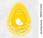happy easter design background... | Shutterstock .eps vector #589072343