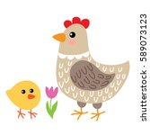 cute cartoon hen and chicken... | Shutterstock .eps vector #589073123