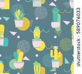 seamless pattern with cacti and ...   Shutterstock .eps vector #589076033