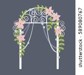 wedding  arch with  flowers.... | Shutterstock .eps vector #589080767