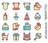 set of baby icons  clothes ... | Shutterstock .eps vector #589097753