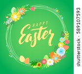 happy easter calligraphy... | Shutterstock .eps vector #589107593