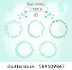 romantic vintage floral frames... | Shutterstock .eps vector #589109867