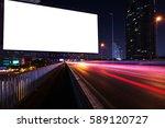 blank billboard on light trails ...   Shutterstock . vector #589120727
