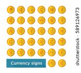 web icon set currency symbol on ... | Shutterstock .eps vector #589126973