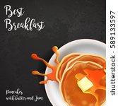 restaurant best breakfasts... | Shutterstock .eps vector #589133597