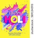 happy holi background with...   Shutterstock .eps vector #589134593