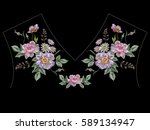 embroidery colorful ethnic neck ...