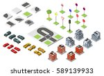 set isometric road and vector... | Shutterstock .eps vector #589139933