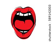 vector woman lips icon... | Shutterstock .eps vector #589142003
