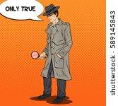 pop art investigator searching... | Shutterstock .eps vector #589145843