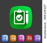 clipboard checklist icon. flat... | Shutterstock .eps vector #589149107