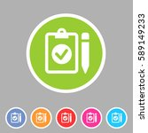 clipboard checklist icon. flat... | Shutterstock .eps vector #589149233