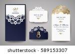 set of wedding invitation... | Shutterstock .eps vector #589153307