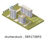 isometric university campus... | Shutterstock .eps vector #589173893