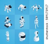 robots set of isometric icons... | Shutterstock .eps vector #589173917