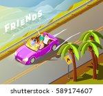 friends travelling in tropics... | Shutterstock .eps vector #589174607