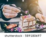 chef chocolate pastry dessert... | Shutterstock . vector #589180697