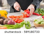 chef cooking food kitchen... | Shutterstock . vector #589180733