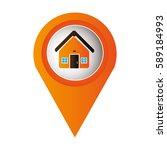 orange mark icon pointer gps... | Shutterstock .eps vector #589184993