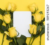 Yellow Roses With A Blank Whit...