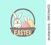 vector easter card. cute easter ... | Shutterstock .eps vector #589196423