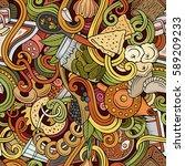 cartoon cute doodles hand drawn ... | Shutterstock .eps vector #589209233