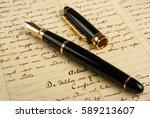 fountain pen on letter... | Shutterstock . vector #589213607
