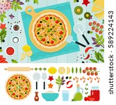 pizza with seafood and... | Shutterstock . vector #589224143