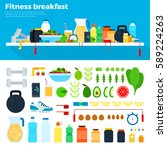 fitness breakfast flat... | Shutterstock . vector #589224263