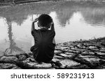 children on ground dry concept... | Shutterstock . vector #589231913