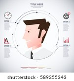 infographic of man with icon.... | Shutterstock .eps vector #589255343