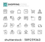 outline icons about shopping.... | Shutterstock .eps vector #589259363