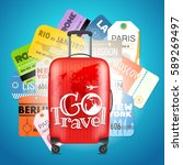 go travel concept. different... | Shutterstock .eps vector #589269497