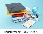 3d illustration. stack of book... | Shutterstock . vector #589270577