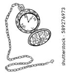 clock. hand drawn vintage ... | Shutterstock .eps vector #589276973