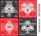 a set of fancy poker suits in...   Shutterstock .eps vector #589280063