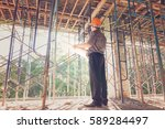 construction concepts  engineer ... | Shutterstock . vector #589284497