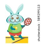 hare is with a tennis racket.   Shutterstock .eps vector #589299113