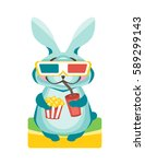 rabbit sits with popcorn and a...   Shutterstock .eps vector #589299143
