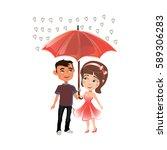 man and woman standing under an ... | Shutterstock .eps vector #589306283