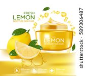 lemon fruit serum moisture skin ... | Shutterstock .eps vector #589306487