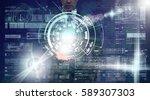 businessman hand holding the... | Shutterstock . vector #589307303