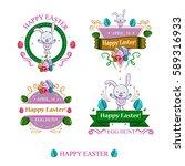 a set of four easter badges...   Shutterstock .eps vector #589316933