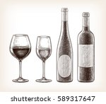 wine bottles and glasses... | Shutterstock .eps vector #589317647