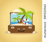 composition with a suitcase and ... | Shutterstock .eps vector #589323563